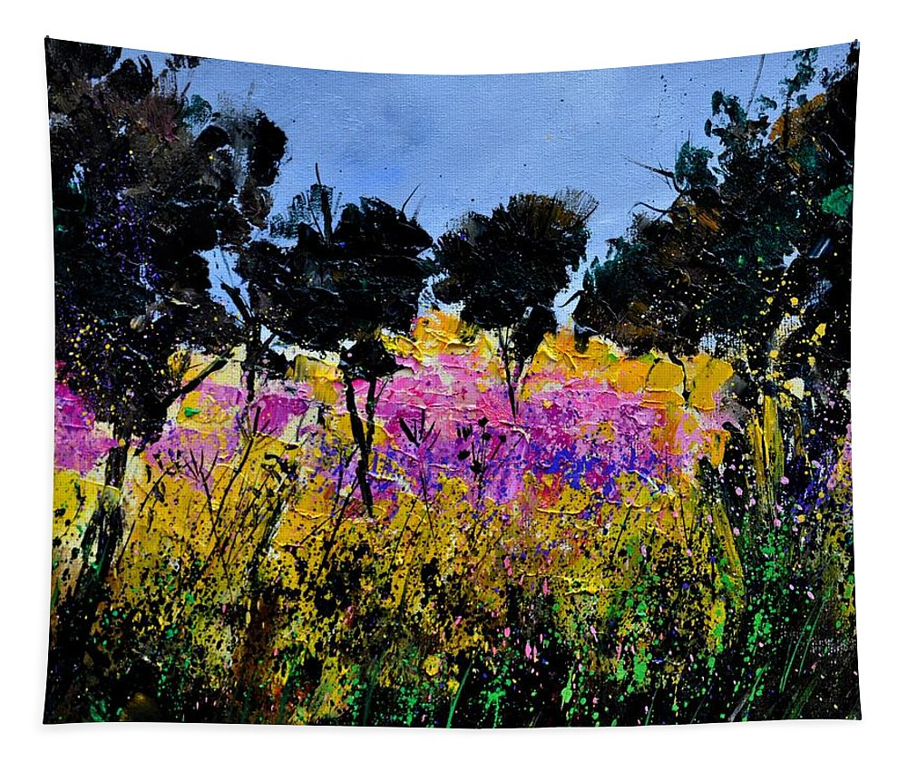 Flowers Tapestry featuring the painting Yesterday's Walk by Pol Ledent