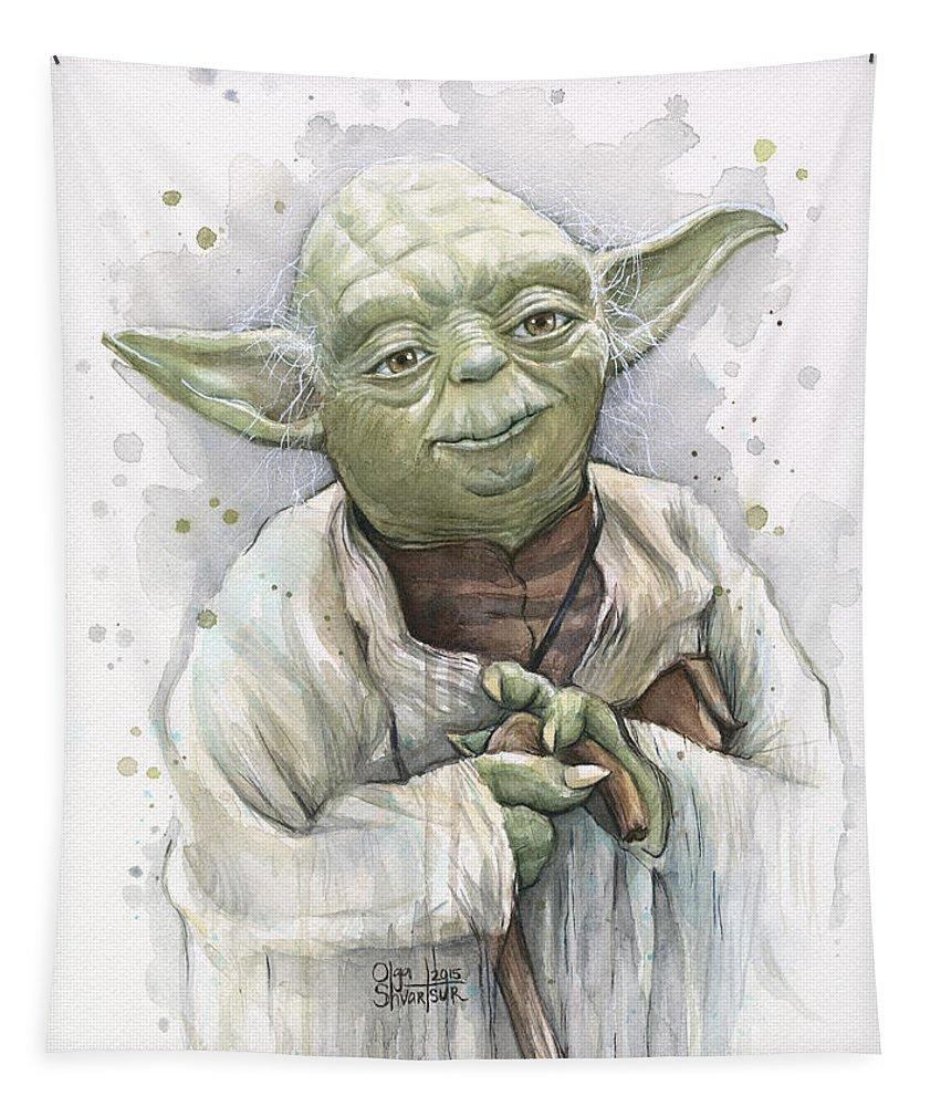Yoda Tapestry featuring the painting Yoda by Olga Shvartsur