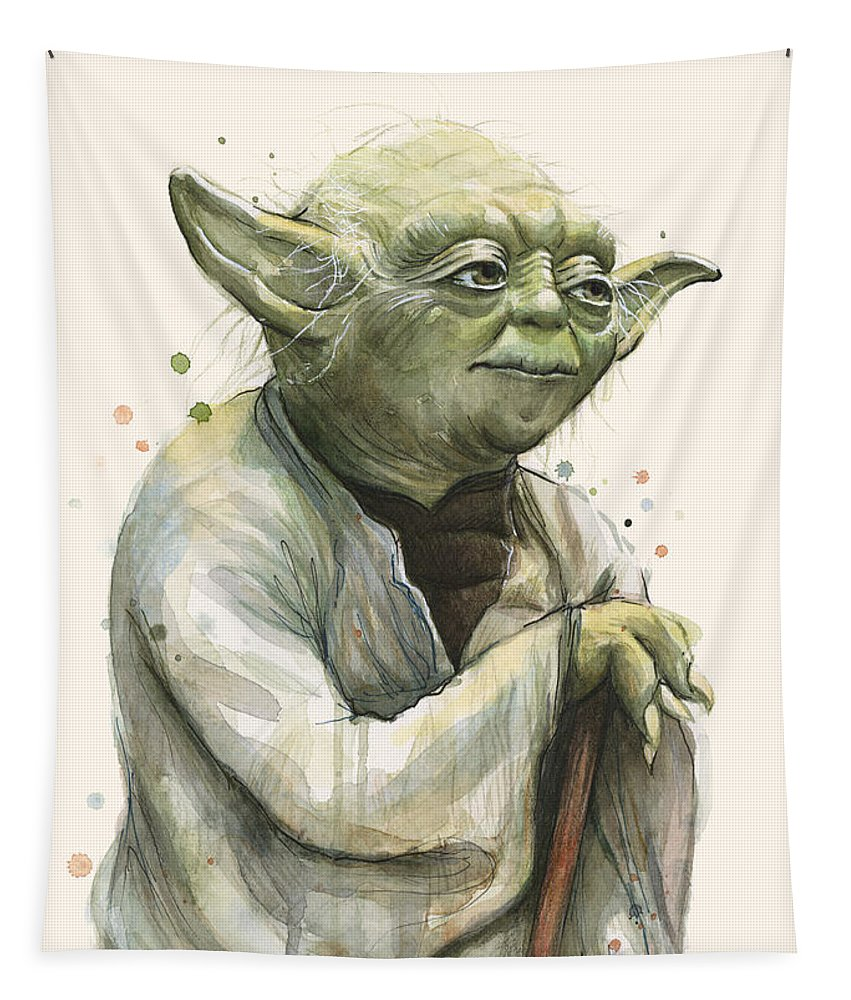 Yoda Tapestry featuring the painting Yoda Portrait by Olga Shvartsur