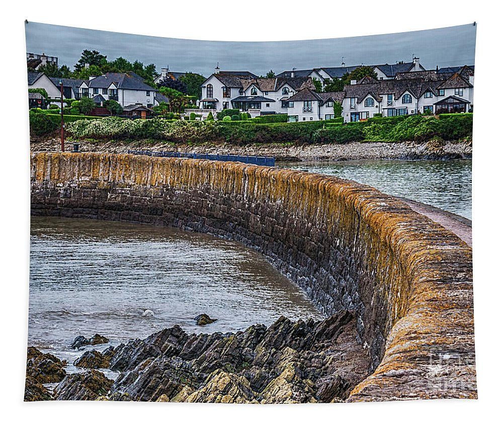 York Breakwater Tapestry featuring the photograph York Breakwater Barry Island by Steve Purnell