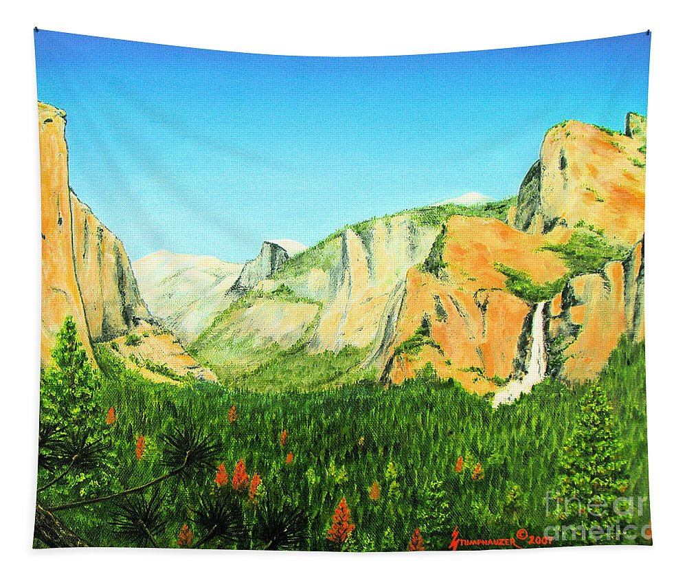 Yosemite National Park Tapestry featuring the painting Yosemite National Park by Jerome Stumphauzer