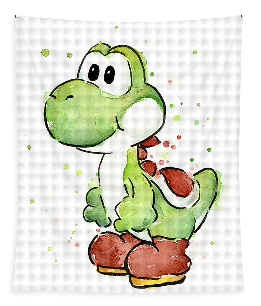 Watercolor Tapestry featuring the painting Yoshi Watercolor by Olga Shvartsur