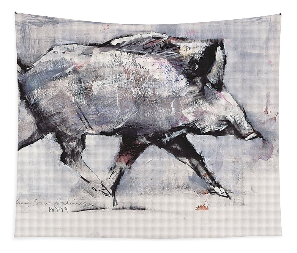 Boar Tapestry featuring the painting Young Boar by Mark Adlington