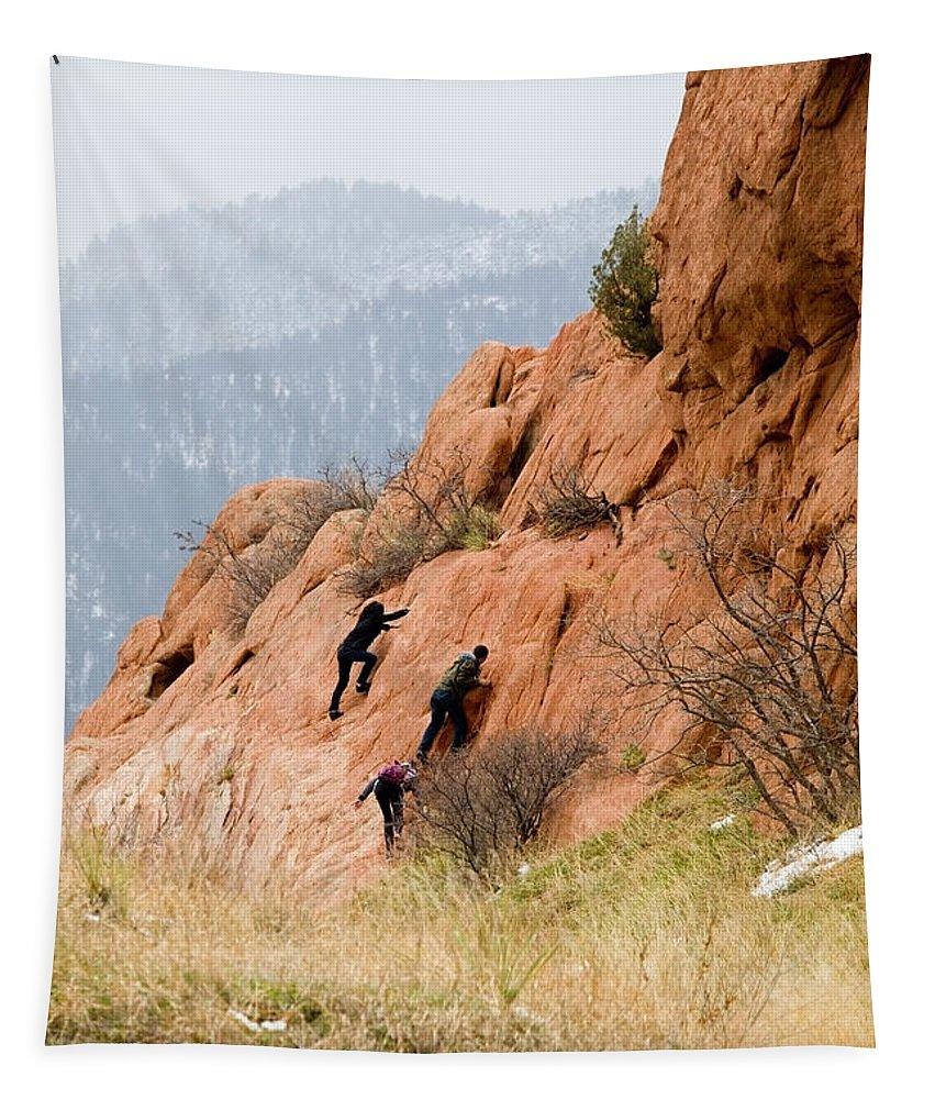 Teenagers Tapestry featuring the photograph Young Climber In Red Rock Canyon by Steve Krull