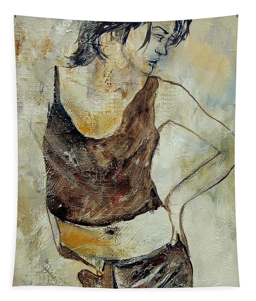 Nude Tapestry featuring the painting Young Girl 459070 by Pol Ledent