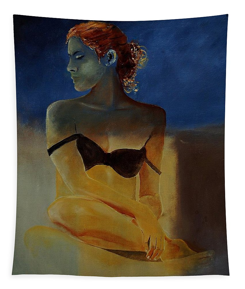 Gir Tapestry featuring the painting Young Girl 56902140 by Pol Ledent