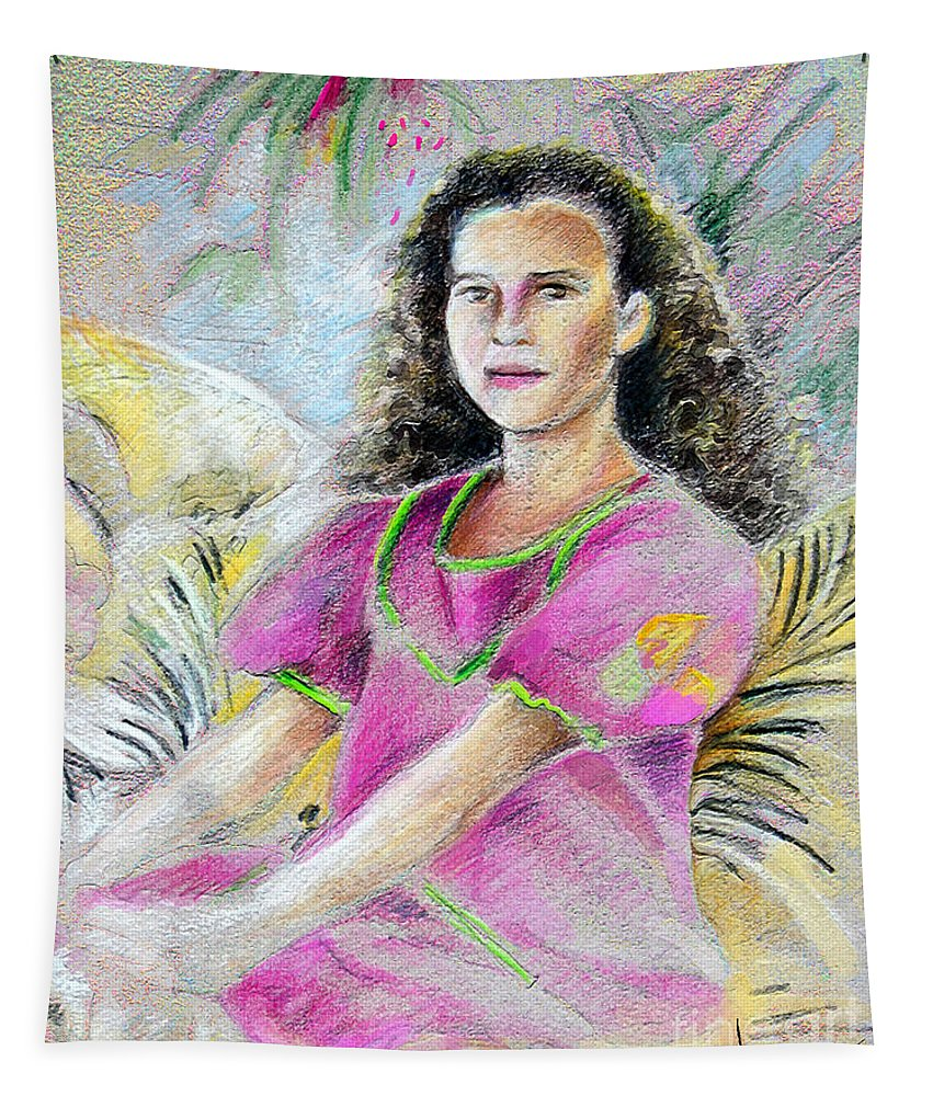 Younf Girl From Tahiti Portrait Tapestry featuring the painting Young Girl From Tahiti by Miki De Goodaboom