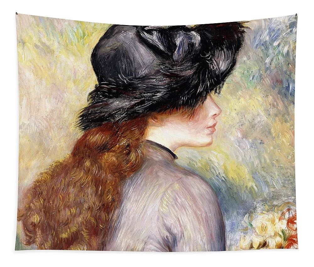 Renoir Tapestry featuring the painting Young Girl Holding A Bouquet Of Tulips, by Pierre Auguste Renoir
