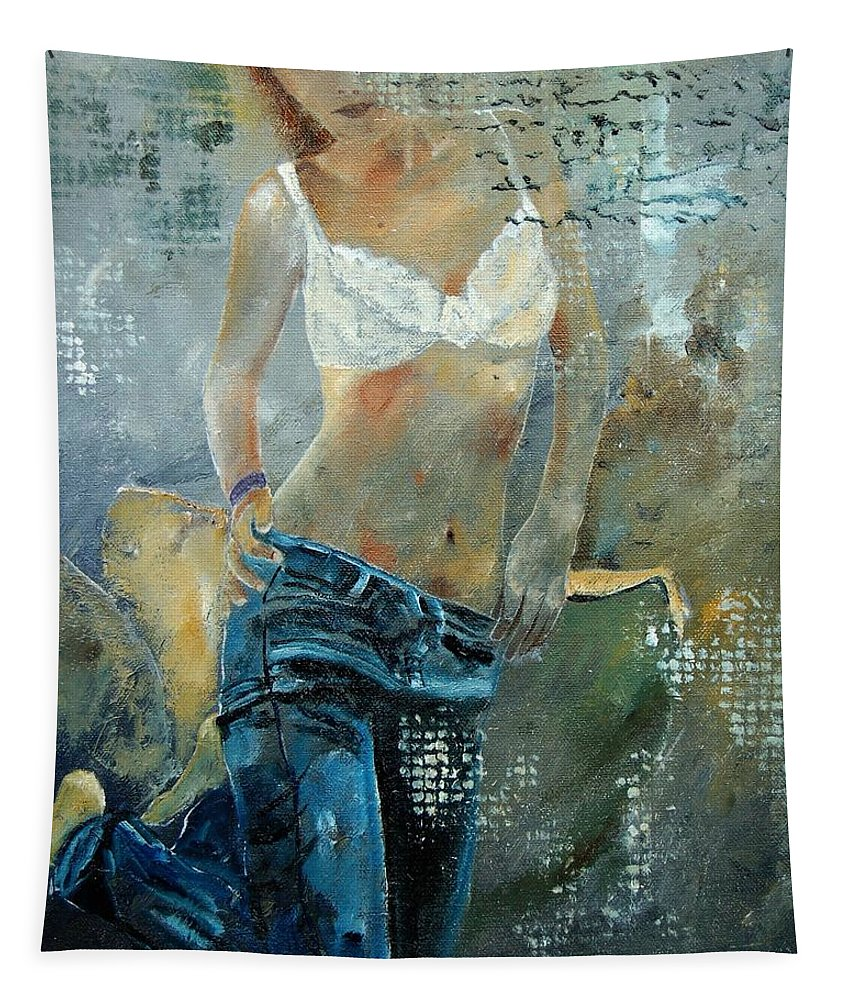 Girl Tapestry featuring the painting Young girl in jeans by Pol Ledent