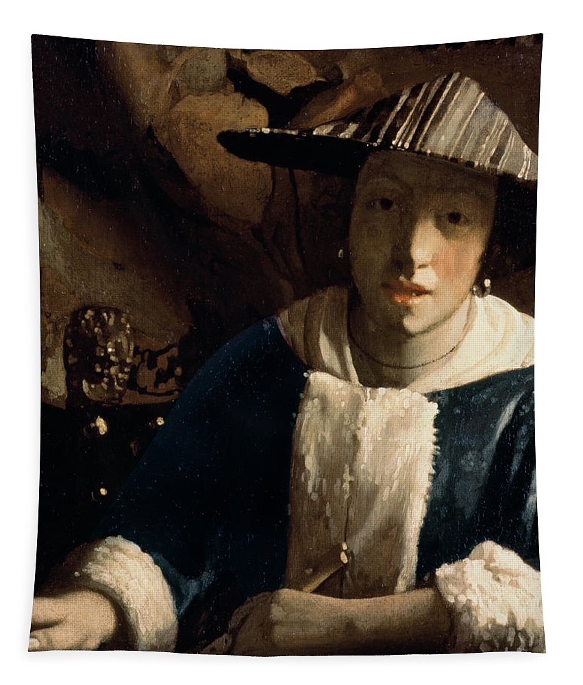 Vermeer Tapestry featuring the painting Young Girl With A Flute by Jan Vermeer