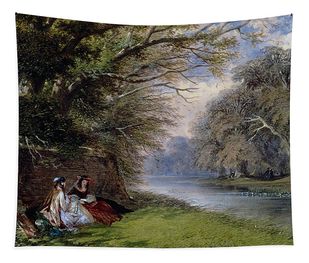 Young Tapestry featuring the painting Young Ladies By A River by John Edmund Buckley