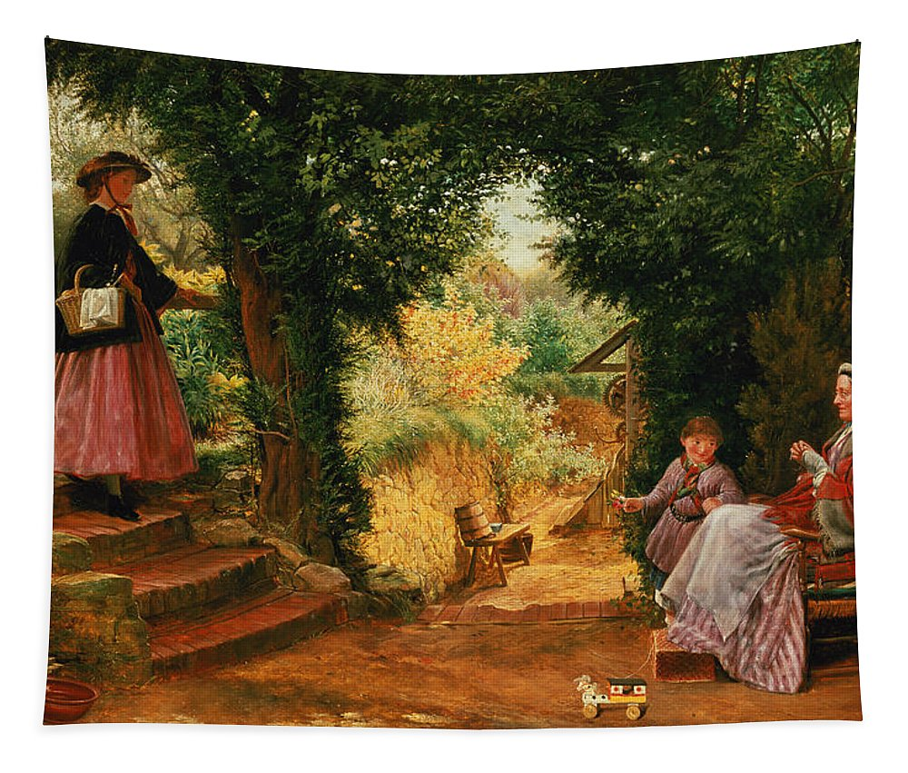 Young Tapestry featuring the painting Young Lady Bountiful by Richard Redgrave