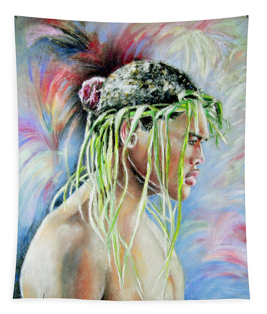 Maori Tapestry featuring the painting Young Maori Warrior by Miki De Goodaboom