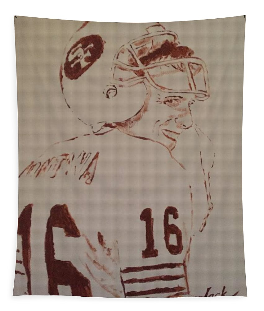 Tapestry featuring the painting Young Nfl Montana by Jack Bunds