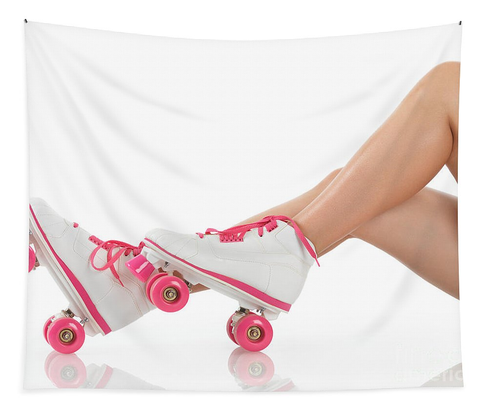 Roller Skates Tapestry featuring the photograph Young Woman Wearing Roller Derby Skates by Oleksiy Maksymenko