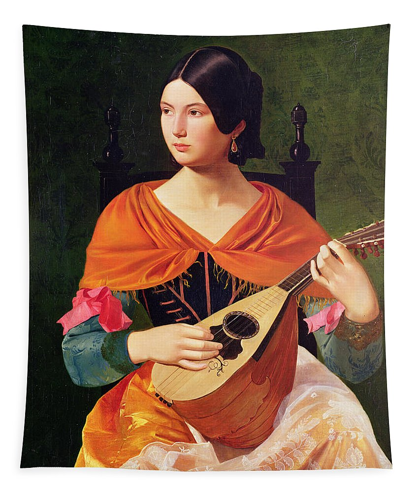 Young Woman With A Mandolin Tapestry featuring the painting Young Woman With A Mandolin by Vekoslav Karas
