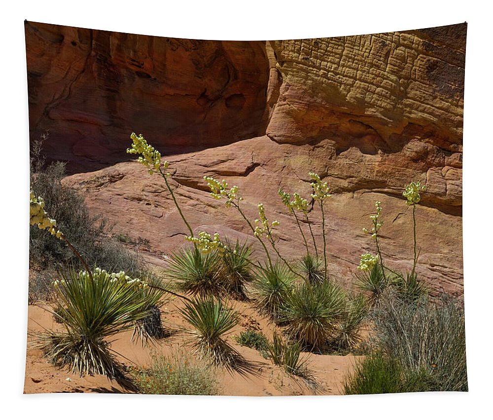 Landscape Tapestry featuring the photograph Yucca Plants Valley Of Fire by Frank Wilson