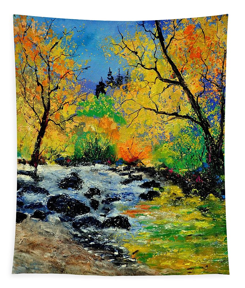 Landscape Tapestry featuring the painting Ywoigne 67 by Pol Ledent