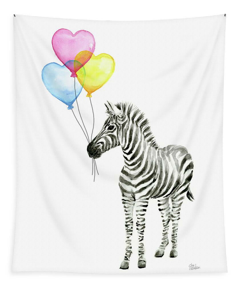 Zebra Tapestry featuring the painting Baby Zebra Watercolor Animal with Balloons by Olga Shvartsur