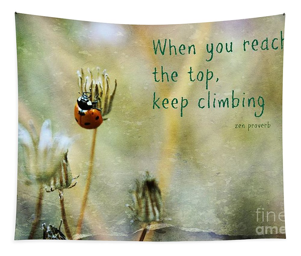 Lady Bug Tapestry featuring the photograph Zen Proverb by Clare Bevan