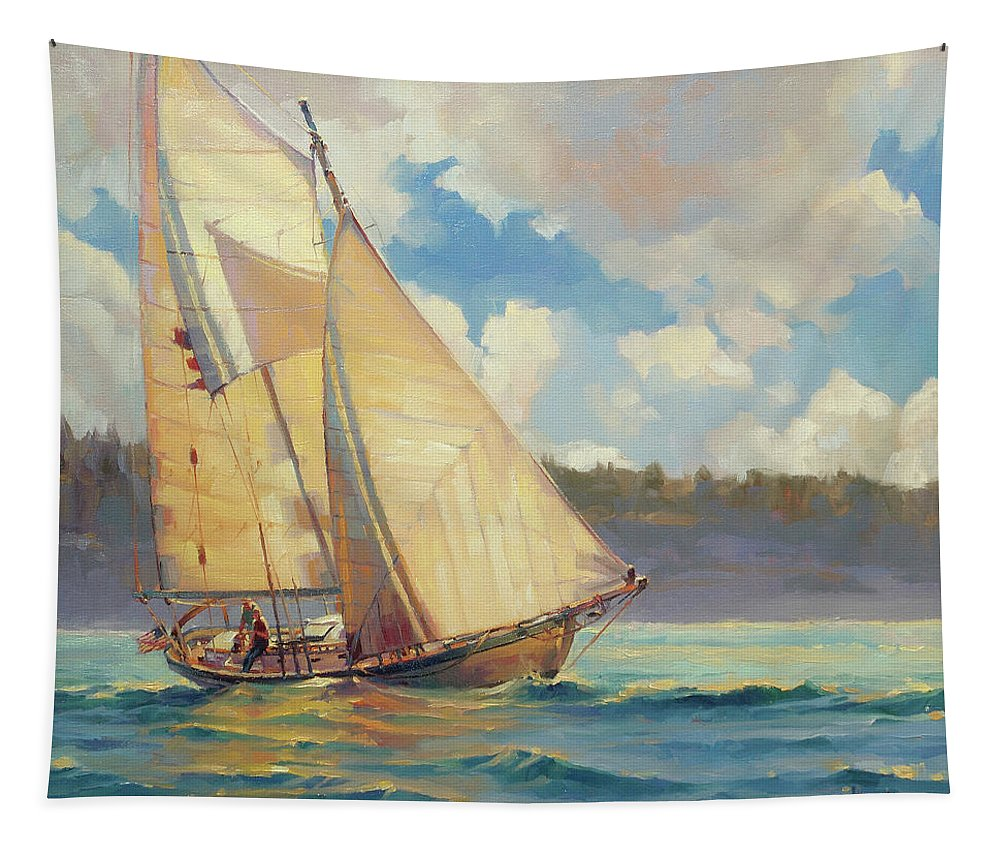Sailboat Tapestry featuring the painting Zephyr by Steve Henderson