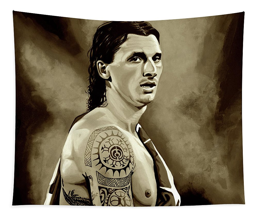 Zlatan Ibrahimovic Tapestry featuring the mixed media Zlatan Ibrahimovic Sepia by Paul Meijering