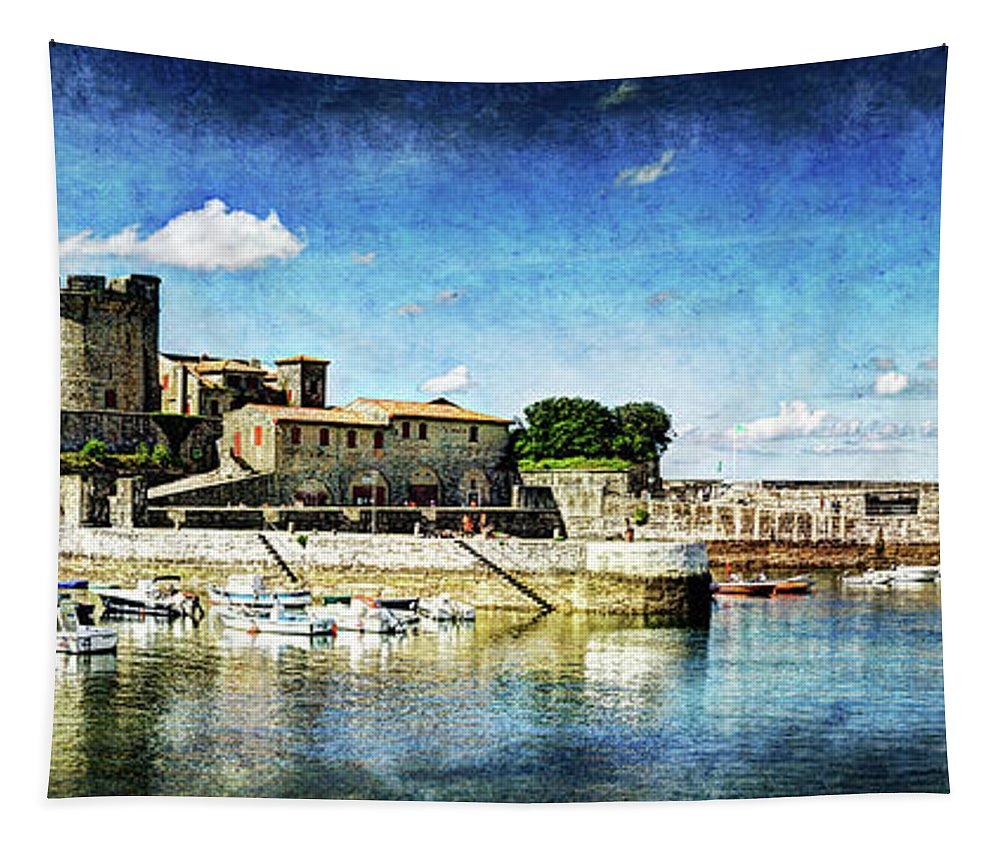 Zokoa Tapestry featuring the photograph Zokoa Harbor Fortress - Vintage Version by Weston Westmoreland