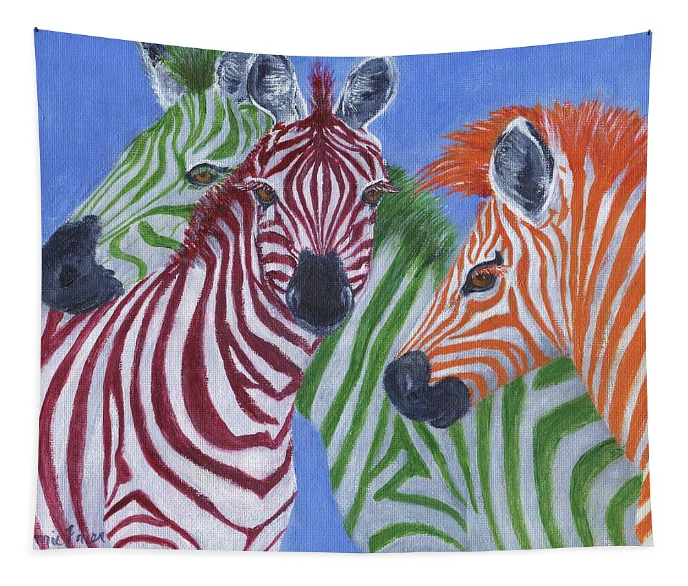 Zebra Tapestry featuring the painting Zzzebras by Jamie Frier