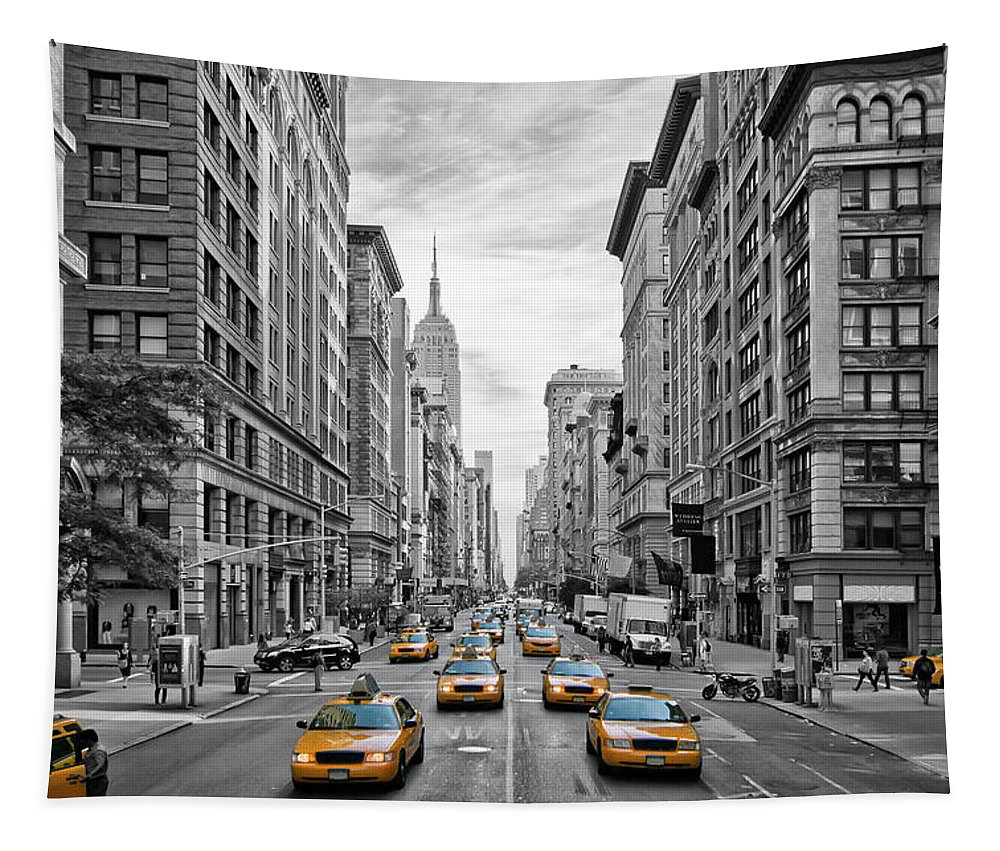 Fifth Avenue Tapestry featuring the photograph 5th Avenue NYC Traffic by Melanie Viola