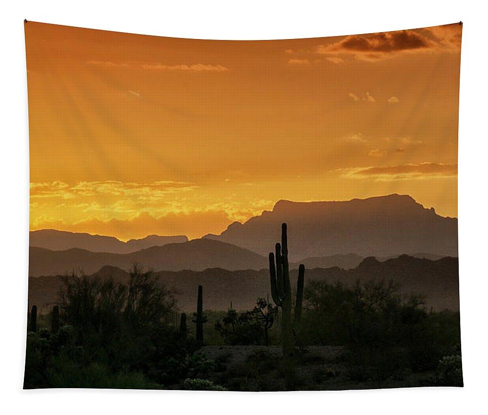 Sunrise Tapestry featuring the photograph A Golden Sunrise by Saija Lehtonen