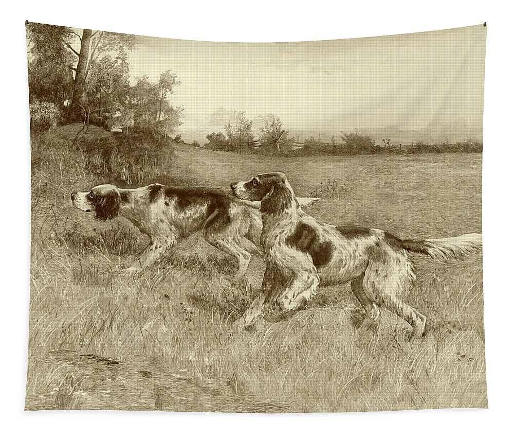 Sporting Tapestry featuring the painting A Thrilling Moment by E.h. Osthaus