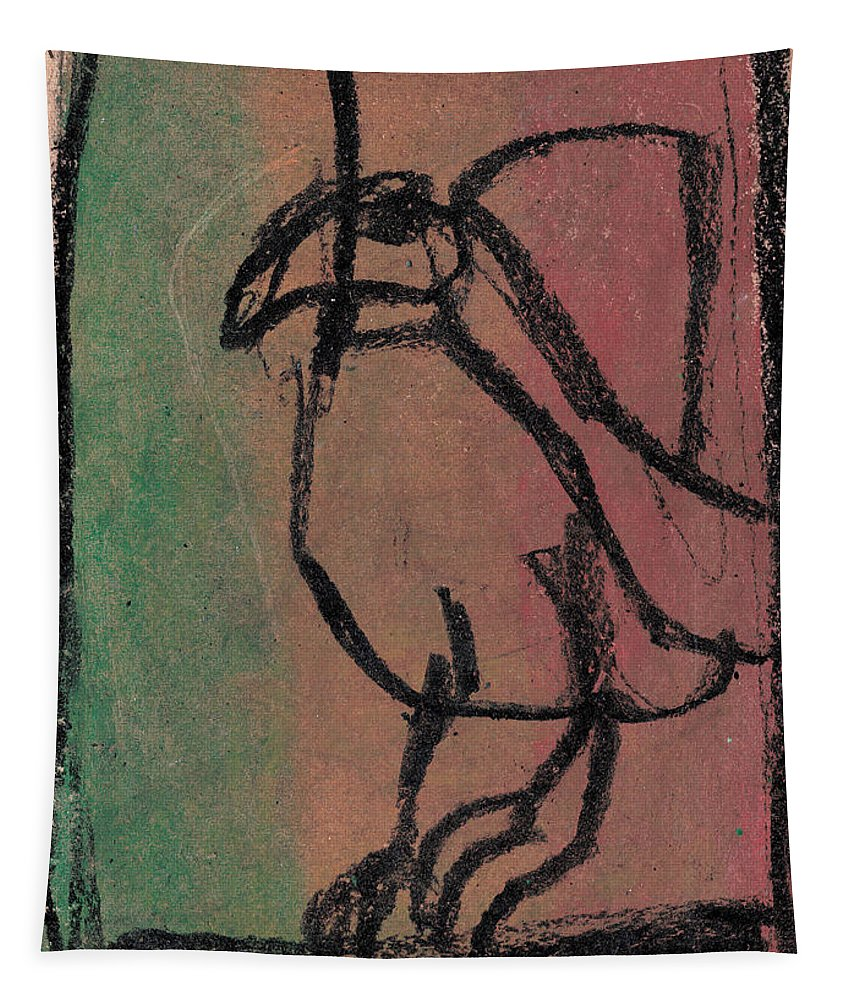 Bird Tapestry featuring the drawing Bird by Edgeworth DotBlog