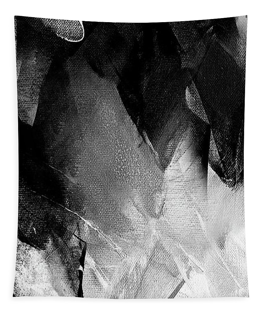 Diamond Tapestry featuring the painting Black White Grey Abstract 1 by Vesna Antic