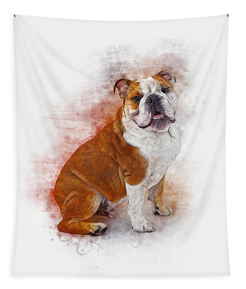 Dog Tapestry featuring the digital art Bulldog by Ian Mitchell