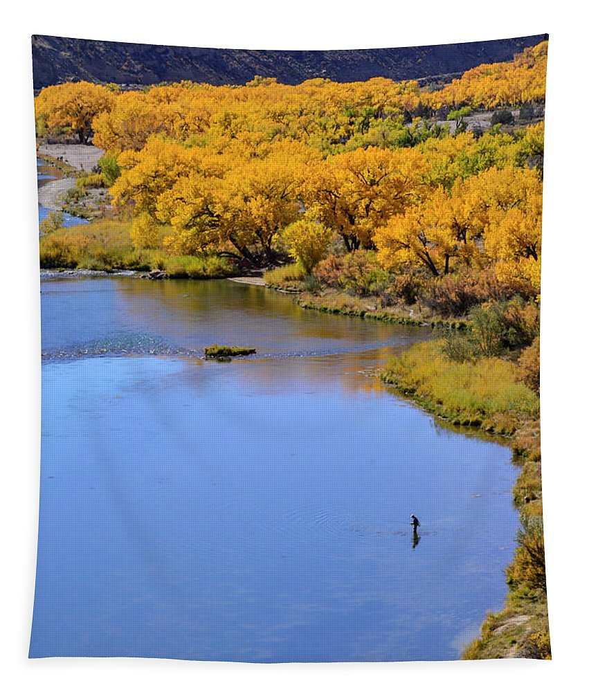 Fall Tapestry featuring the photograph Distant Fisherman On The San Juan River In Fall by Brenda Landdeck