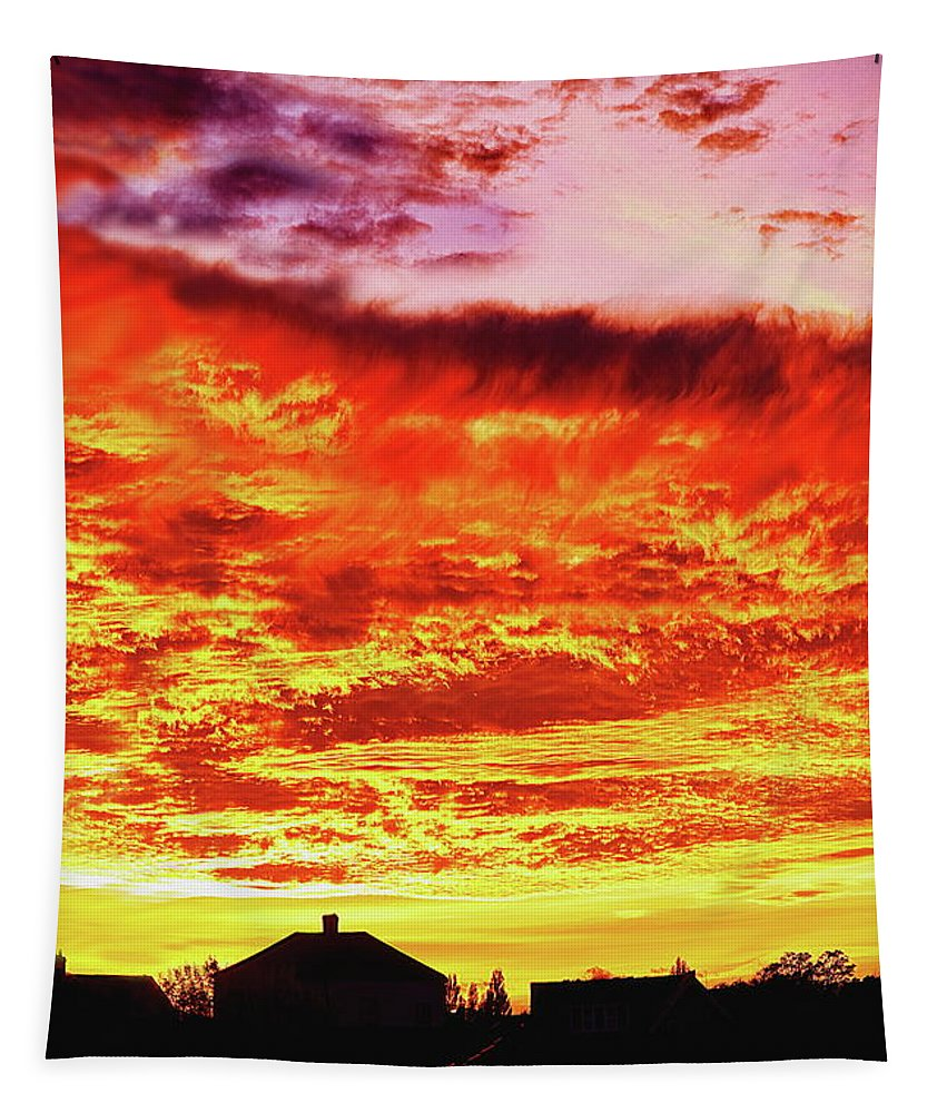 Fire Tapestry featuring the photograph Fire In The Sky by Jeff Townsend