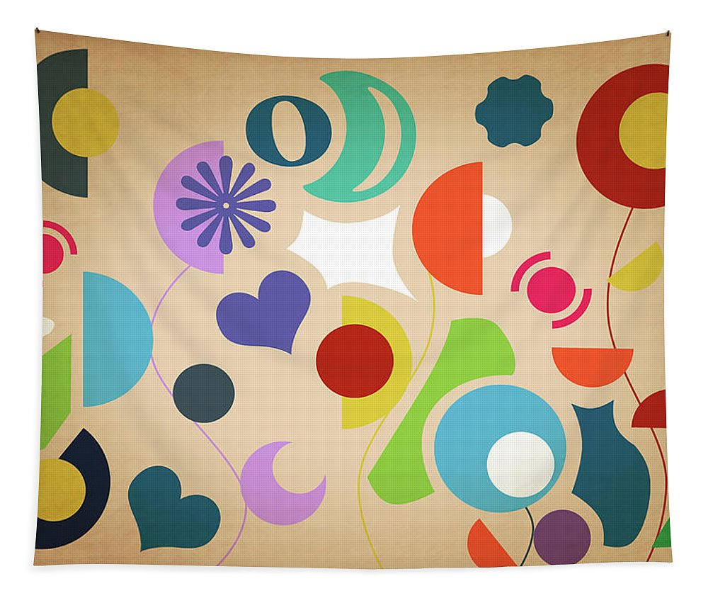 Summer Tapestry featuring the pyrography Flowers Abstract by Mark Ashkenazi
