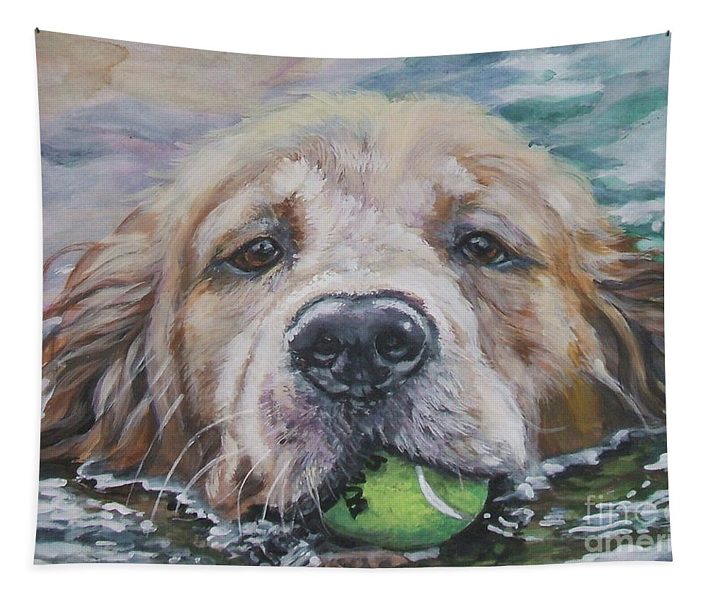 Golden Retriever Tapestry featuring the painting Golden Retriever by Lee Ann Shepard