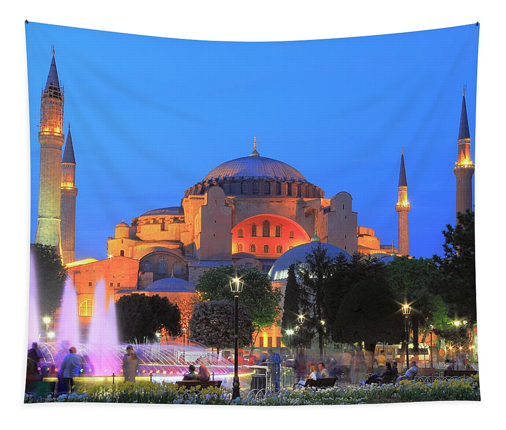 Architecture Tapestry featuring the photograph Hagia Sophia At Night Istanbul Turkey by Ivan Pendjakov