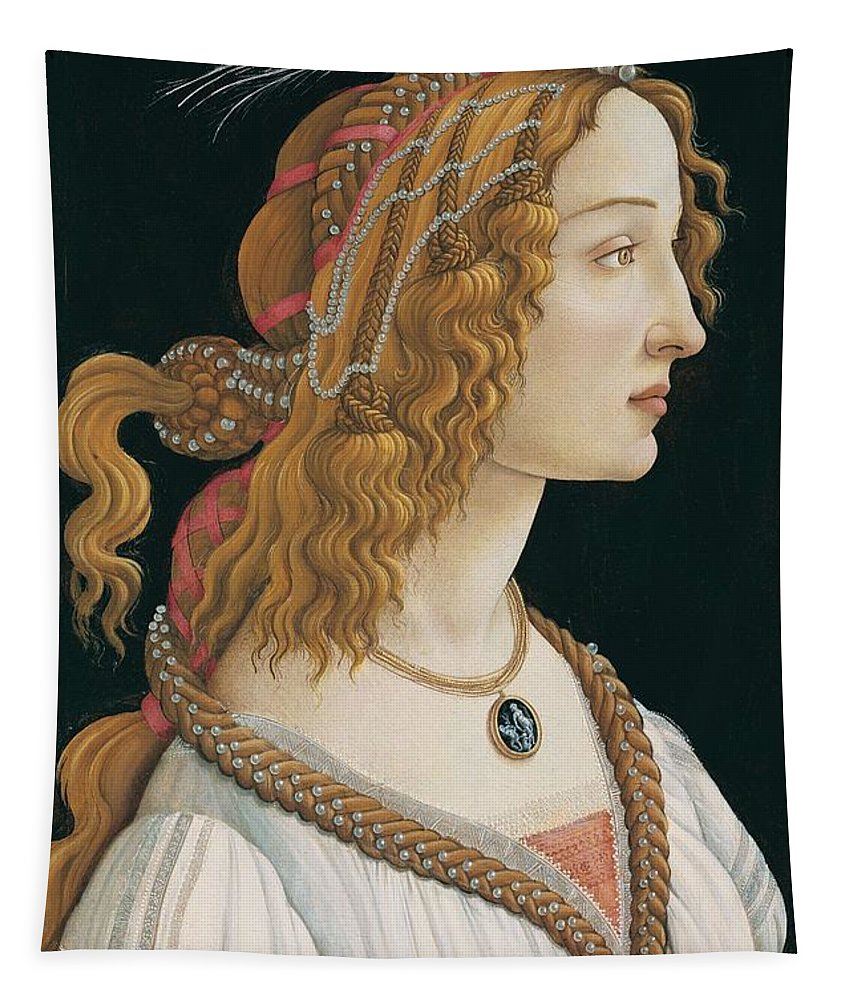 Sandro Botticelli Tapestry featuring the painting Portrait Of A Young Woman, Portrait Of Simonetta Vespucci As Nymph by Sandro Botticelli