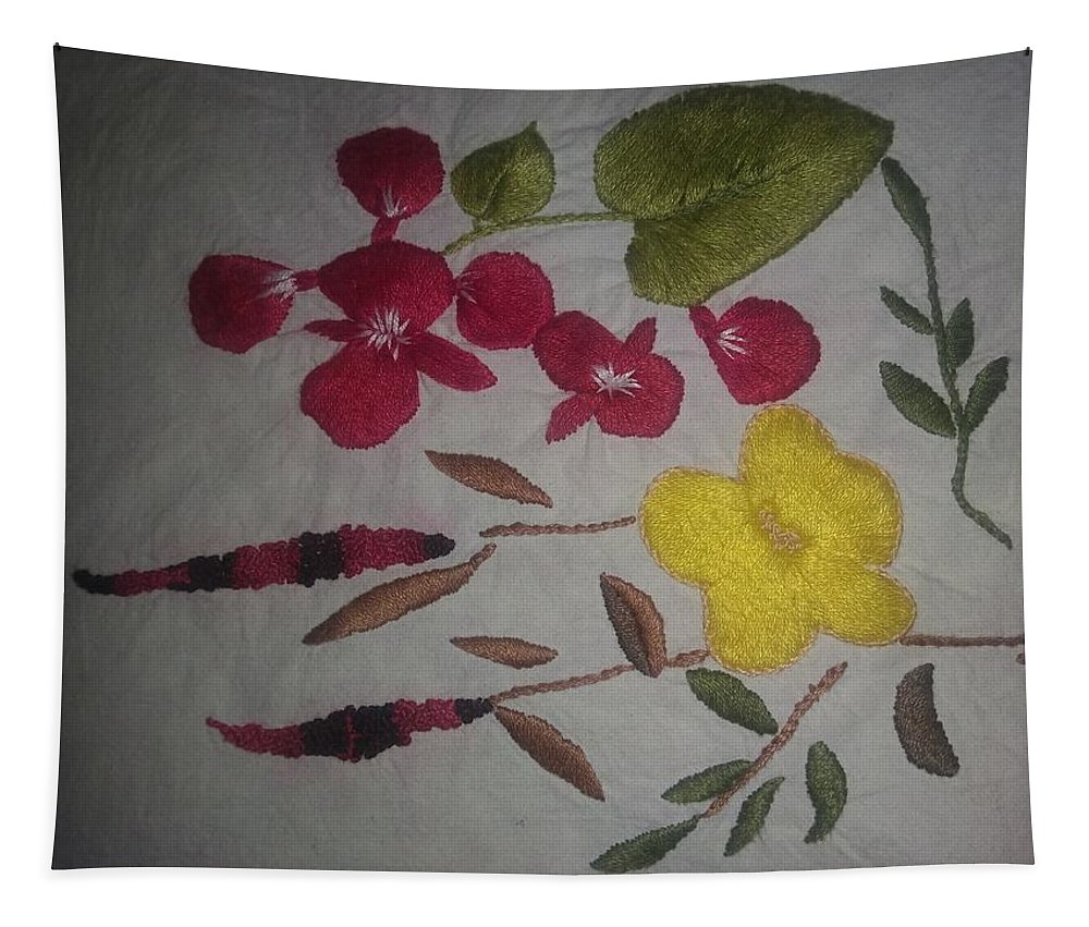 Tapestry featuring the tapestry - textile Moms Hand Embroidery by Nimu Bajaj and Seema Devjani