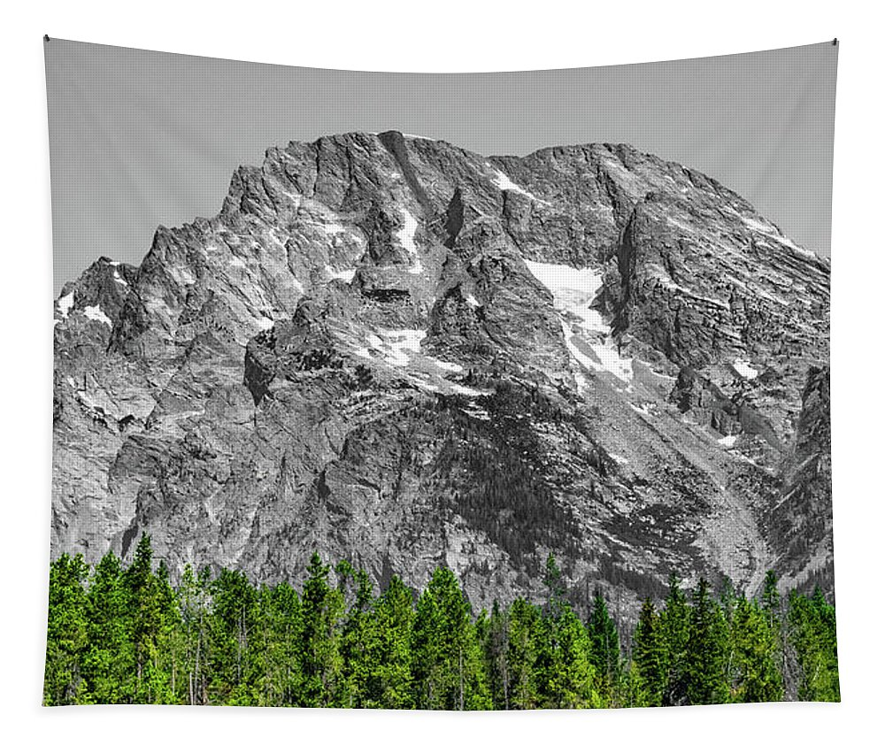 Grand Tetons Tapestry featuring the photograph Mountain Rising by Aaron Geraud