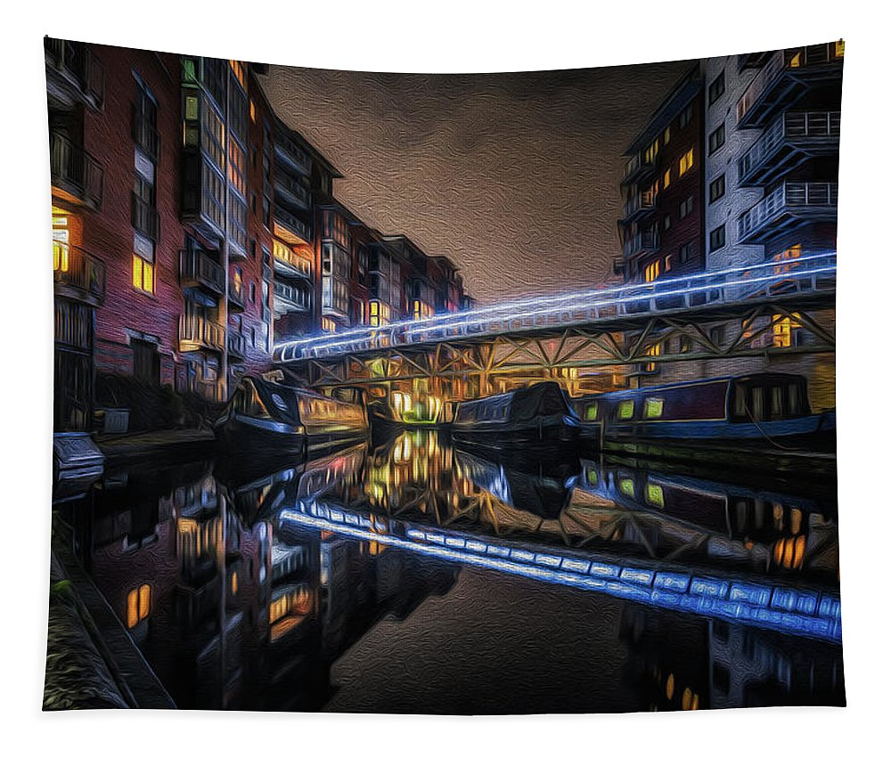 Architecture Tapestry featuring the photograph Night In Sherborne Wharf Boat Park 1 by Chris Fletcher