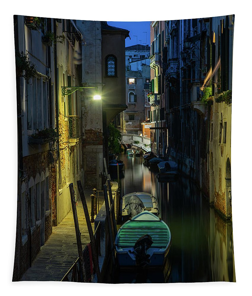 Venice Tapestry featuring the photograph Night Walk In Venice by Jaroslaw Blaminsky