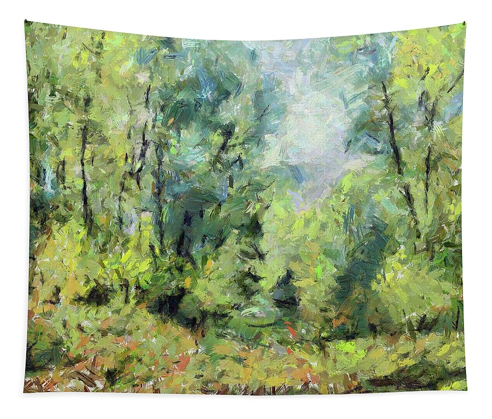 Nature Tapestry featuring the painting On The Edge Of The Marsh by Dragica Micki Fortuna
