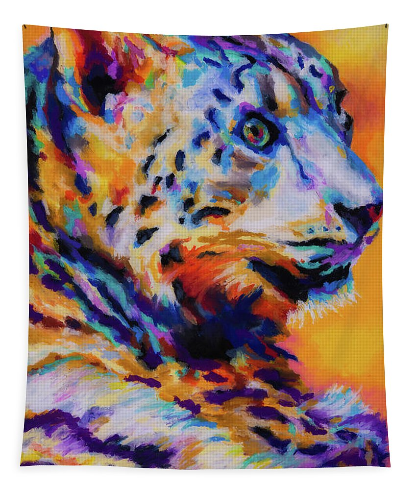 Snow Tapestry featuring the photograph Snow Leopard by Stephen Anderson