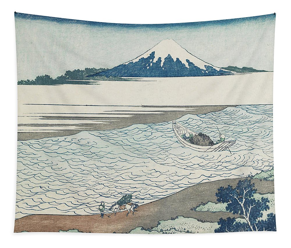Katsushika Hokusai Tapestry featuring the painting The Jewel River in Musashi Province by Katsushika Hokusai