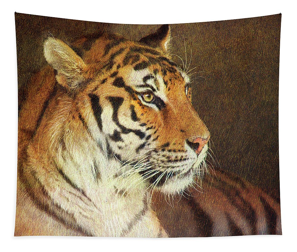 Animals Tapestry featuring the painting Tiger by Chris Vest