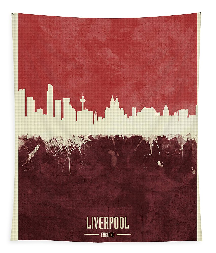 Liverpool Tapestry featuring the digital art Liverpool England Skyline by Michael Tompsett