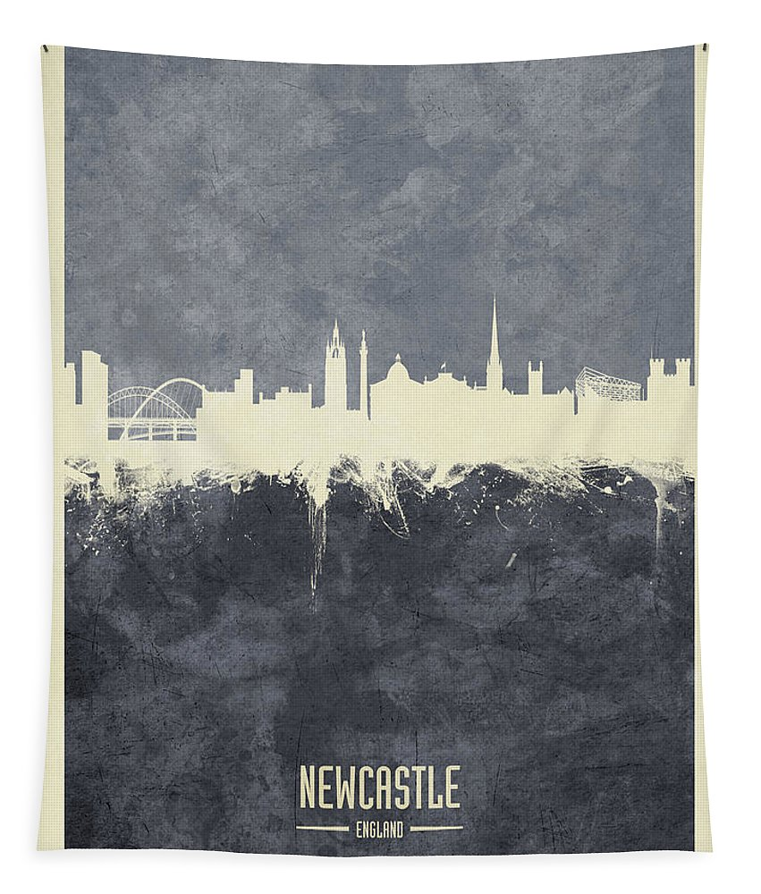 Newcastle Tapestry featuring the digital art Newcastle England Skyline by Michael Tompsett
